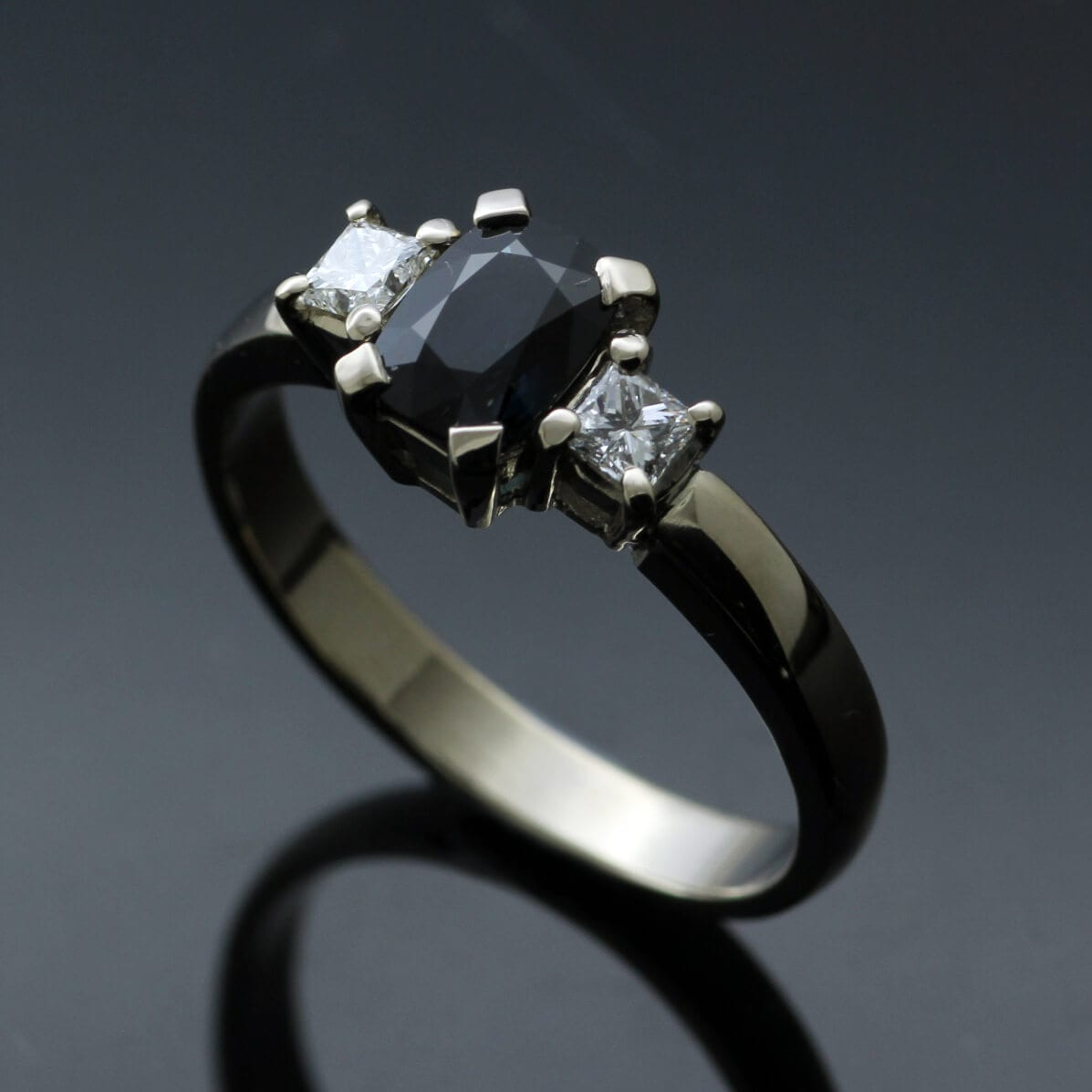 Modern Trilogy ring set with Sapphire, Princess cut Diamonds in White Gold