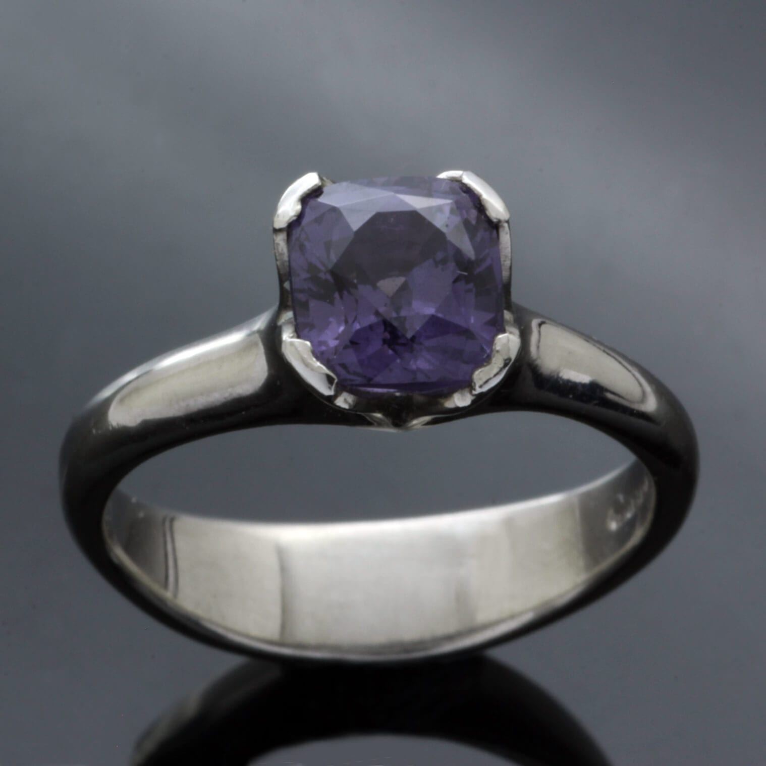 Mauve Spinel gemstone set in Palladium handmade engagement ring