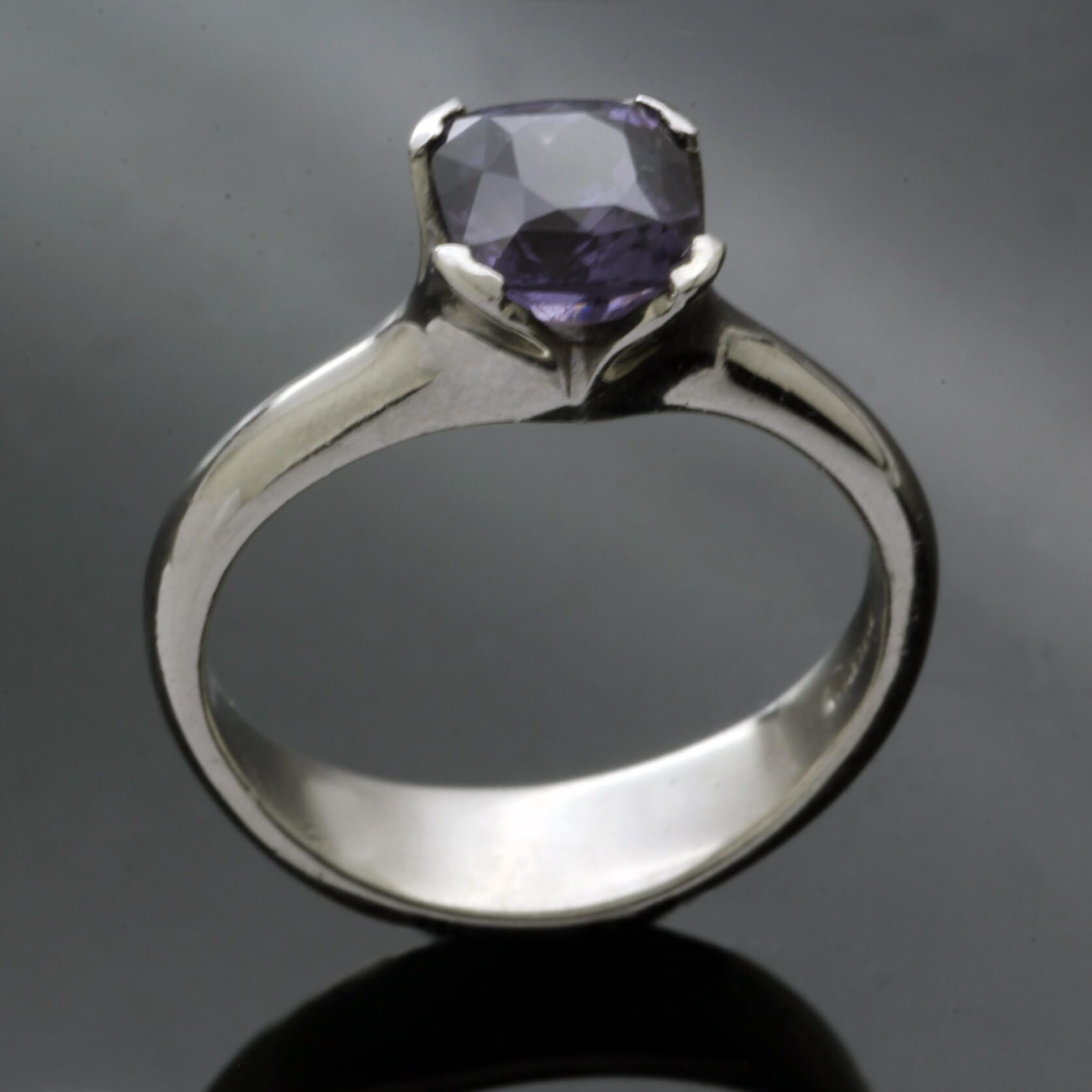 Mauve Spinel gem set in Palladium handcrafted engagement ring