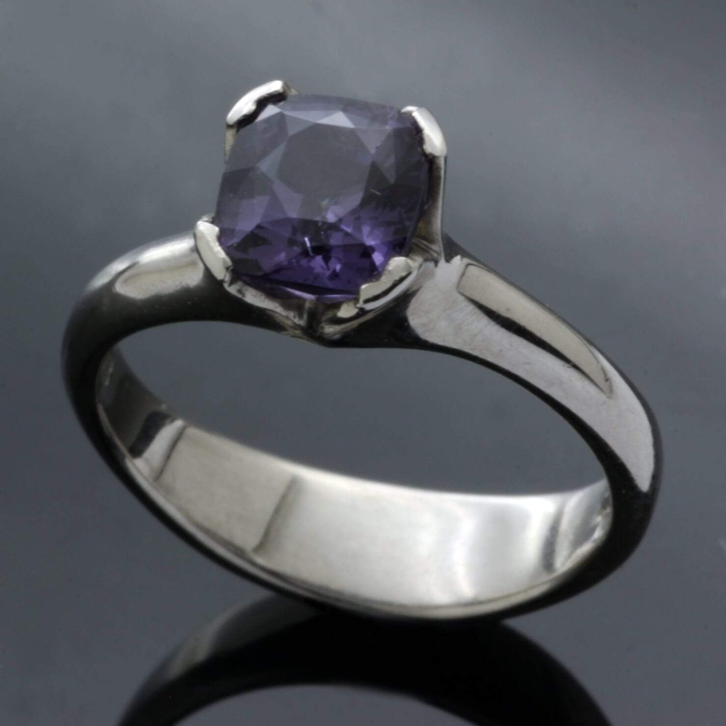 Spinel gemstone set in Palladium handmade engagement ring