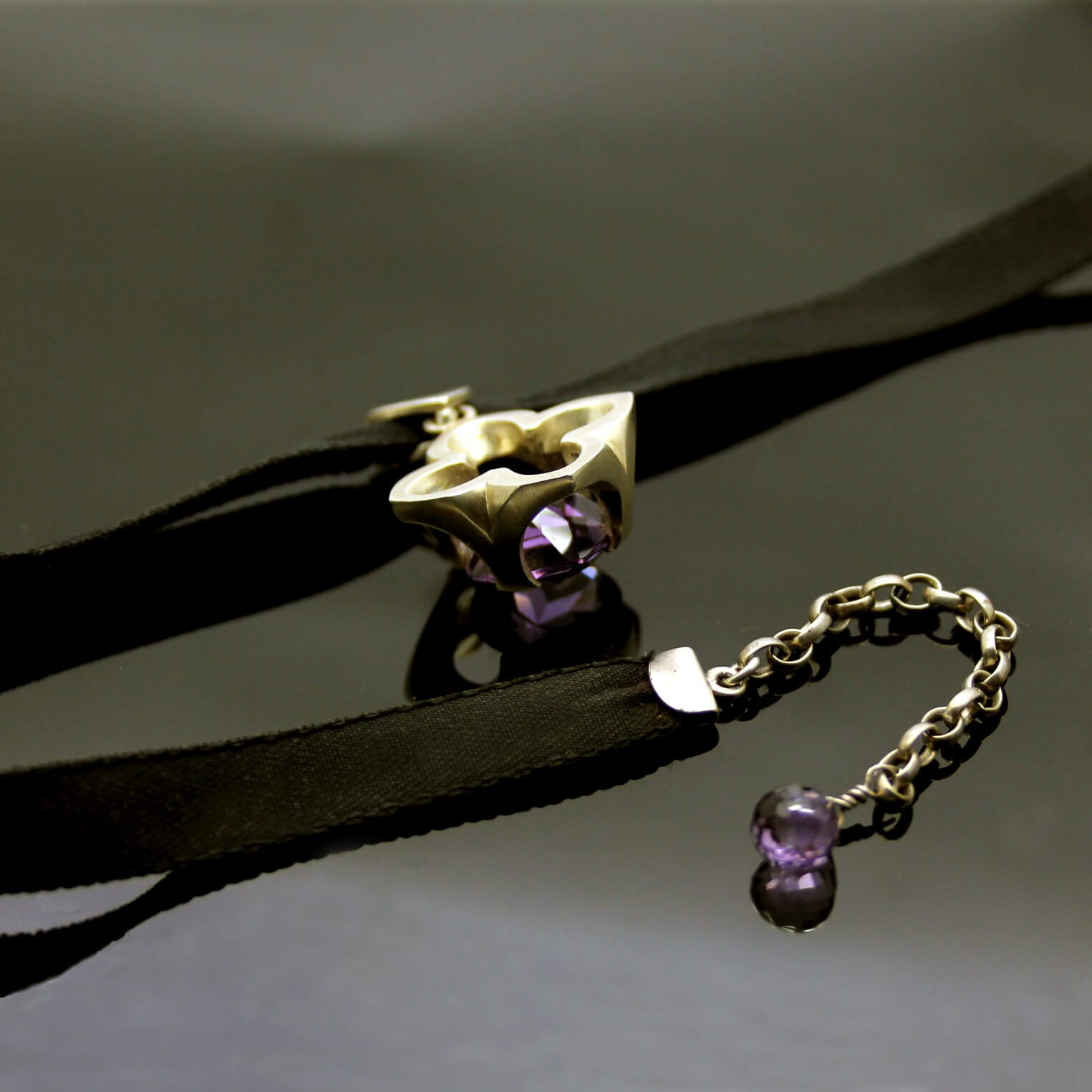 The Abbey Amethyst and Sterling Silver choker necklace by Julian Stephens