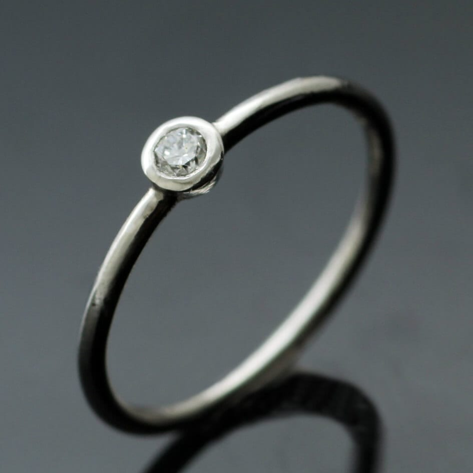 Contemporary handmade Round Brilliant Diamond and Platinum engagement ring