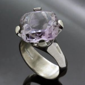 Handcrafted Lilac Amethyst Sterling Silver statement cocktail ring