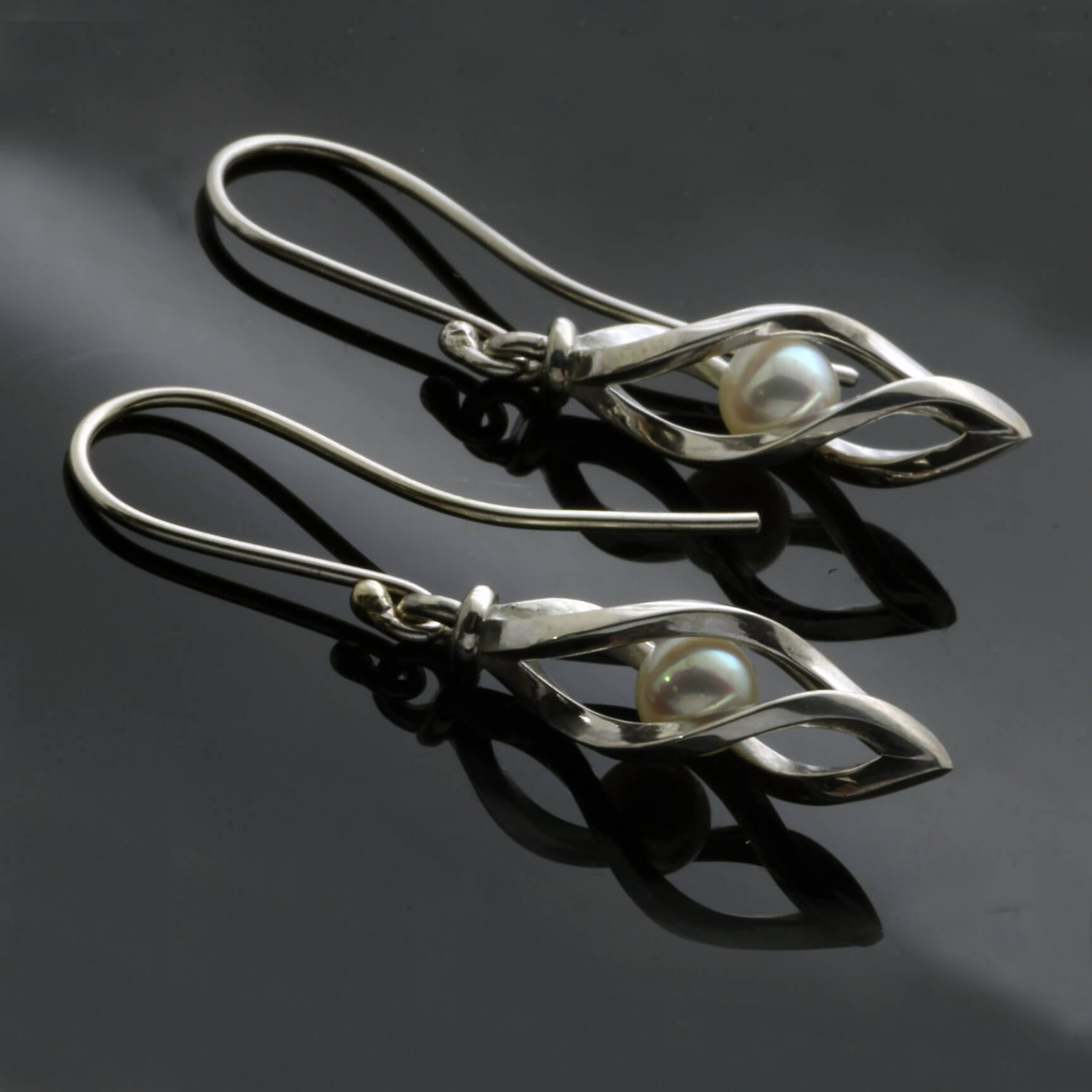 Contemporary Pearl Sterling Silver earrings