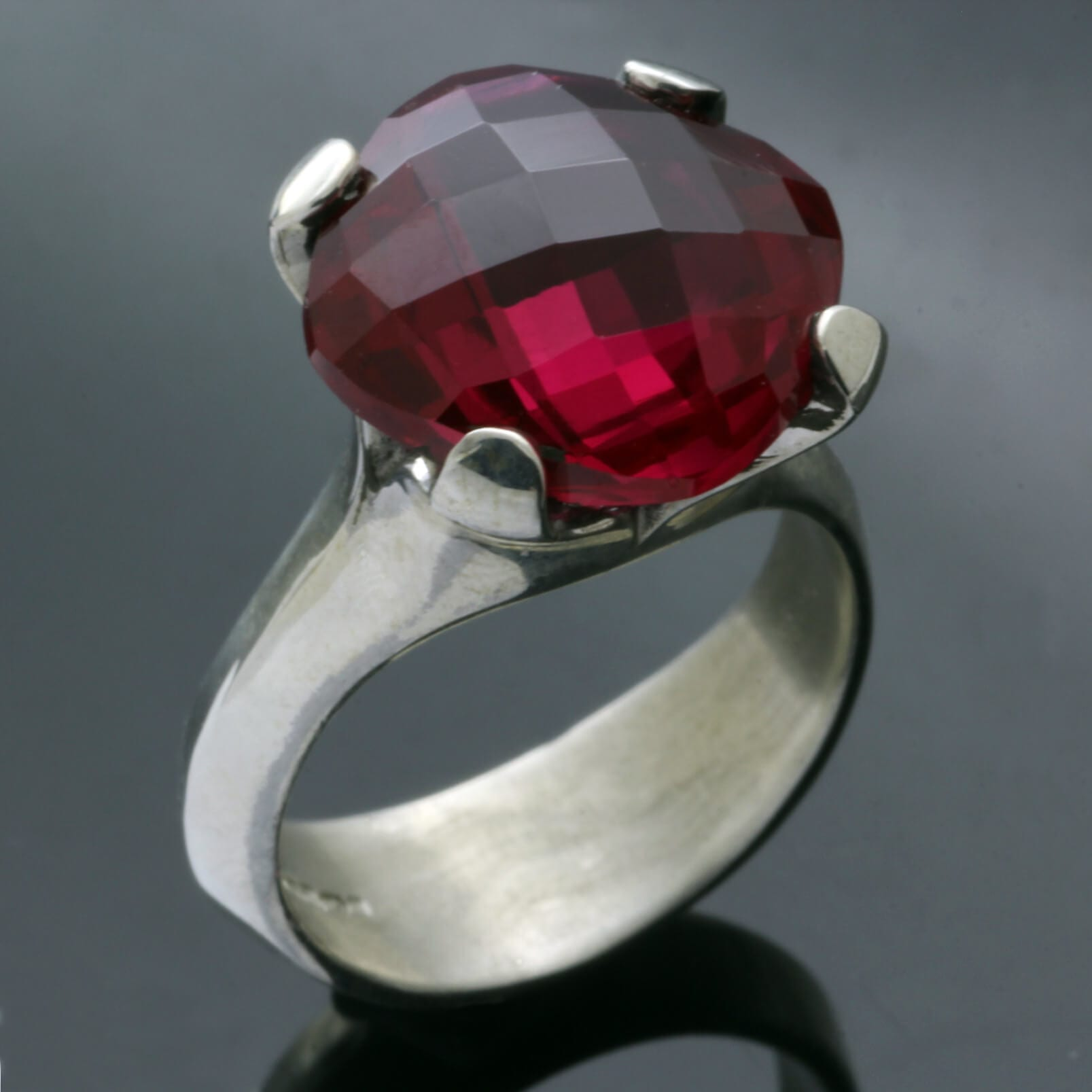 Synthetic Ruby gemstone Sterling Silver handmade statement ring