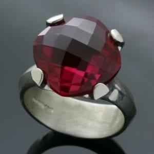 Synthetic Ruby gemstone Sterling Silver handmade cocktail ring
