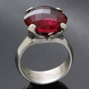 Synthetic Ruby gem and Sterling Silver cocktail statement ring