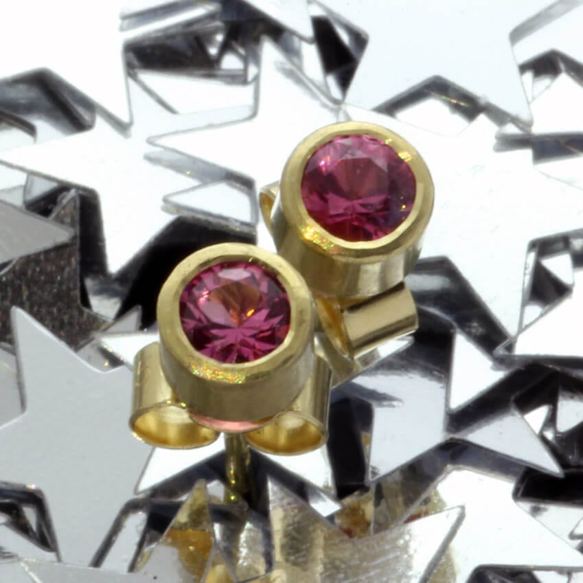 Handcrafted solid Yellow Gold contemporary Pink Spinel gemstone earrings