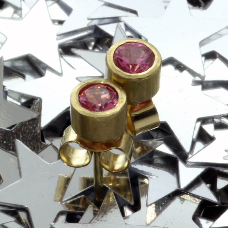 18ct Yellow Gold handmade Pink Spinel stud earrings