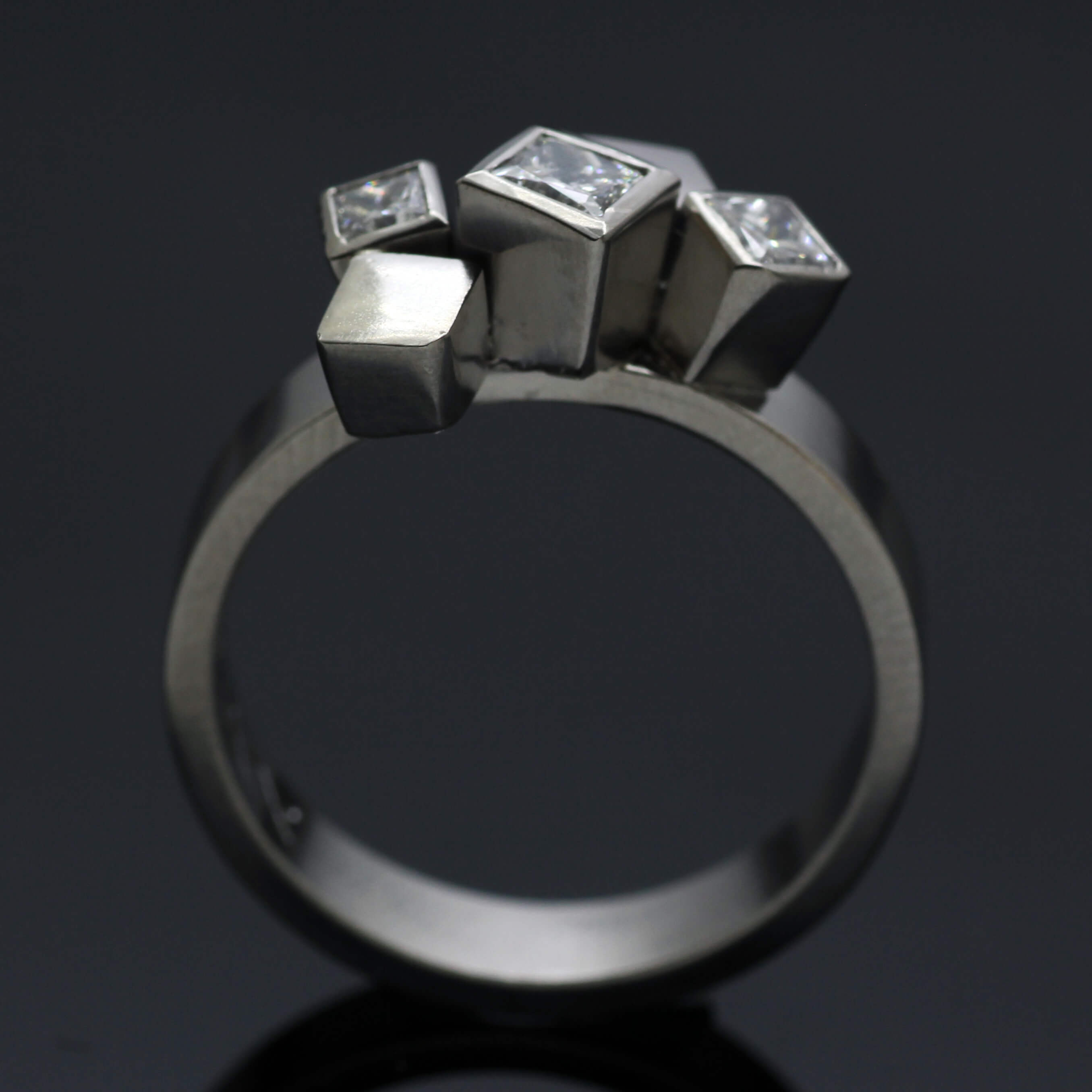 Bespoke handcrafted Palladium and Princess cut Diamonds engagement ring