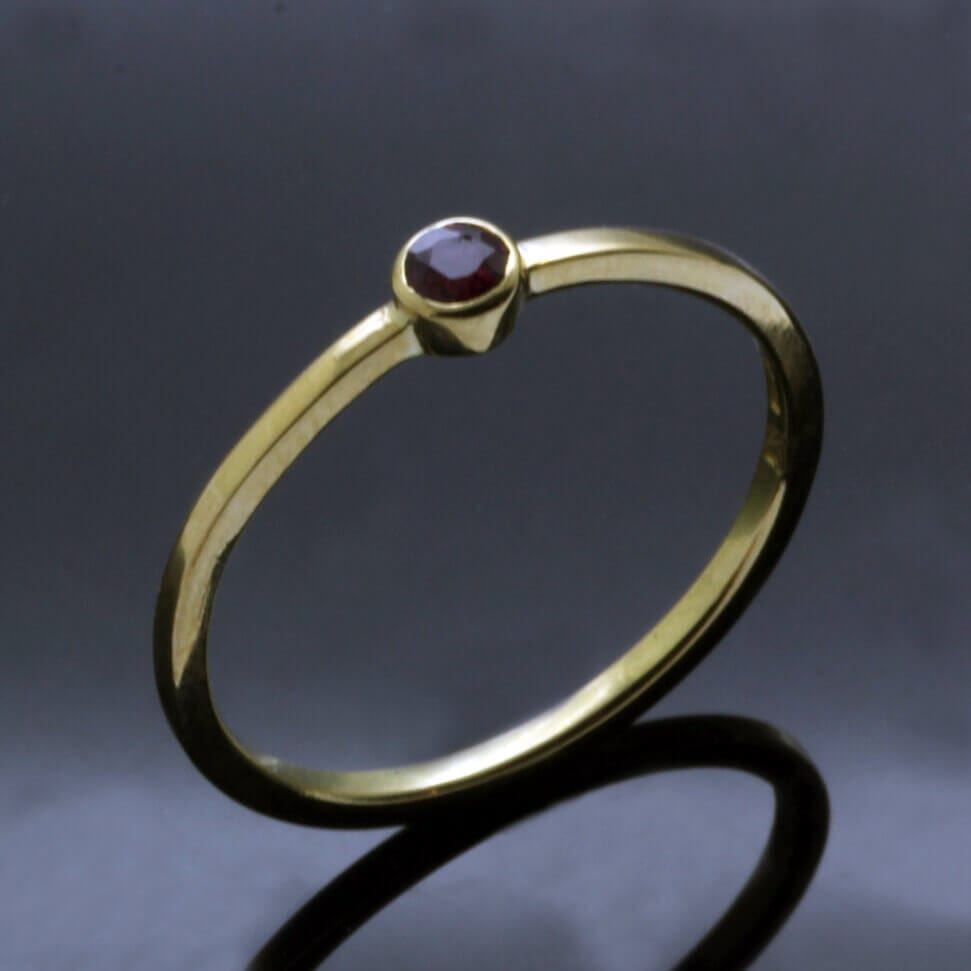 Stylish minimal stacking ring yellow gold ruby handmade