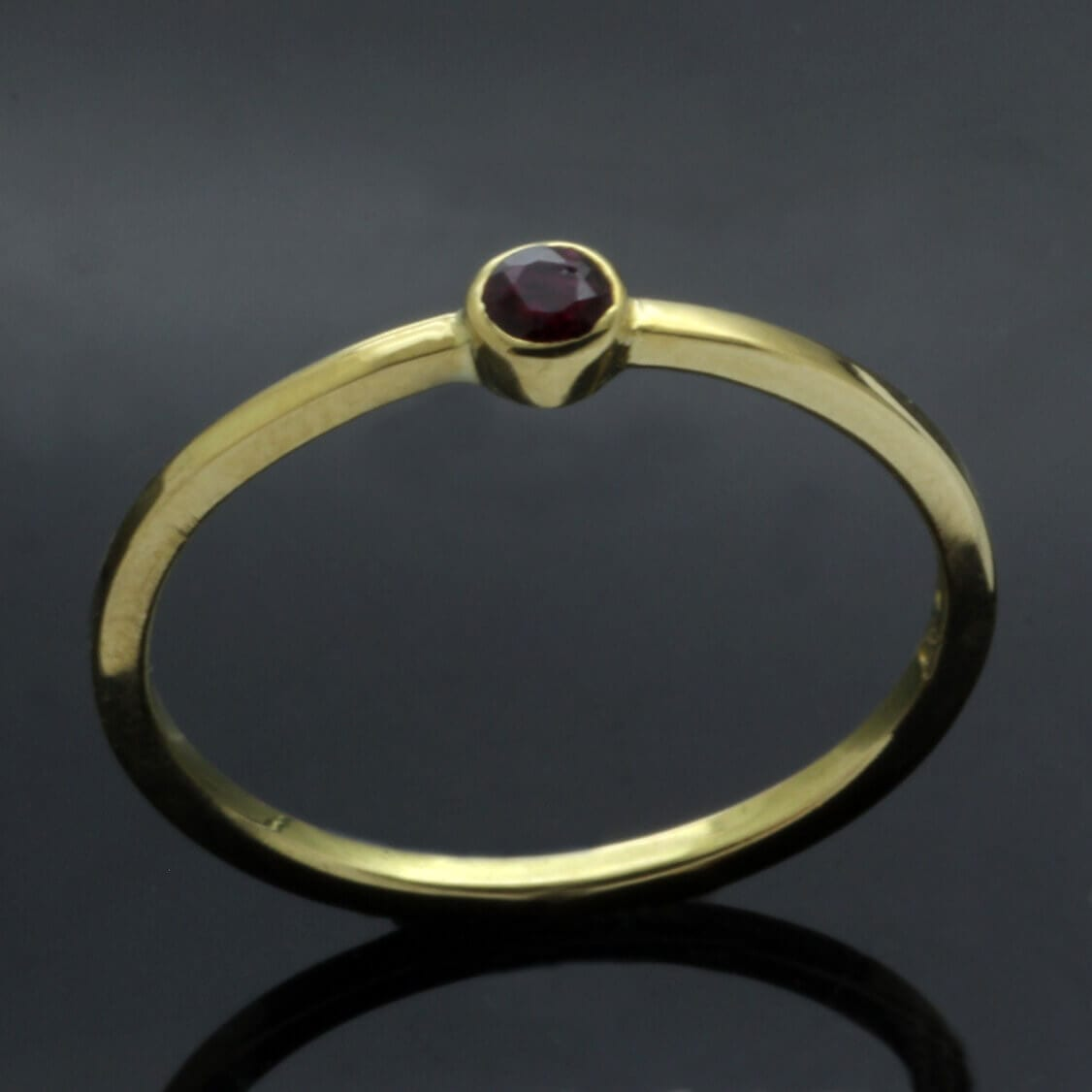 Modern Yellow Gold Ruby stacking ring unique design