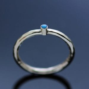 Contemporary yellow gold turquoise modern ring