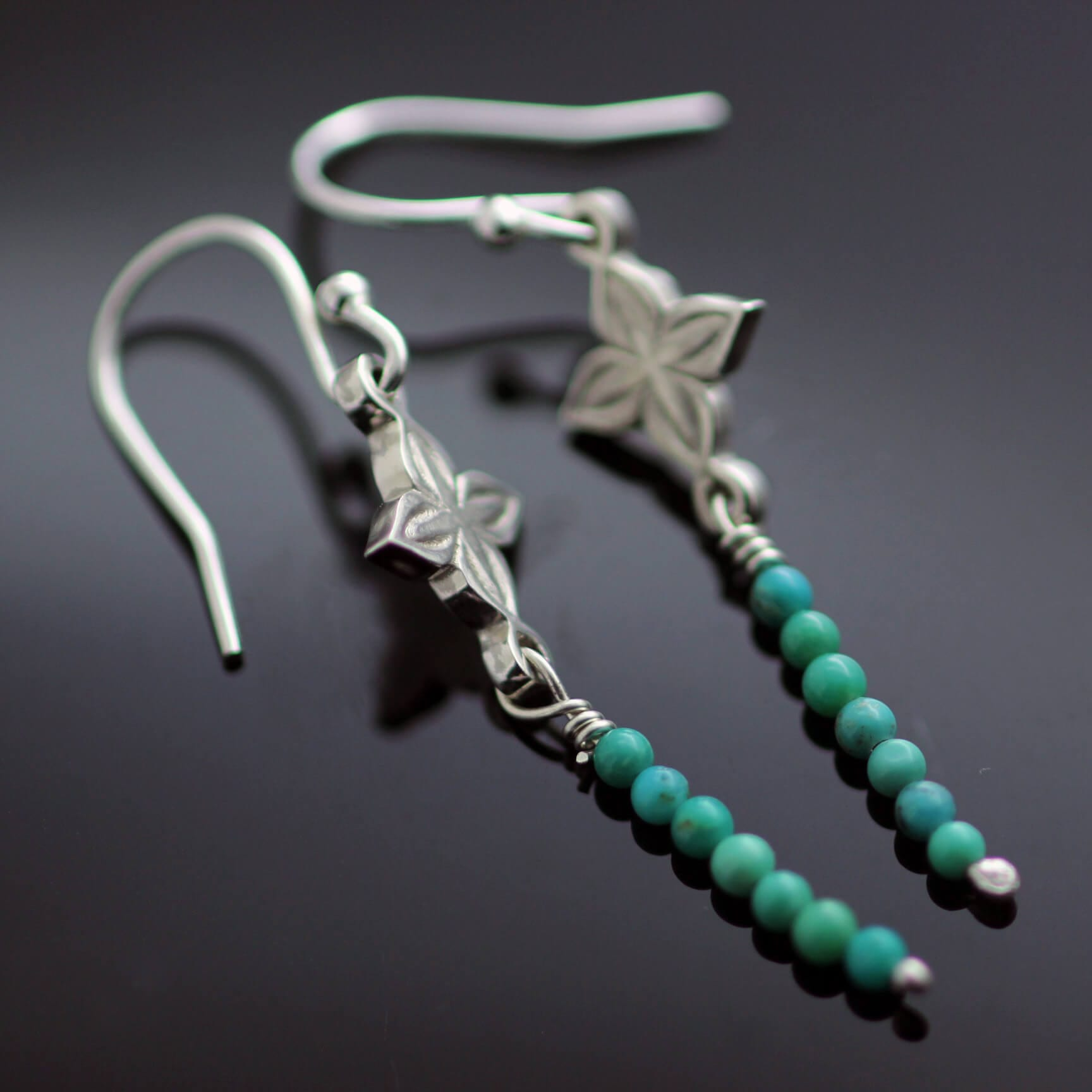 Droplet dangle Sterling Silver earrings turquoise gemstone