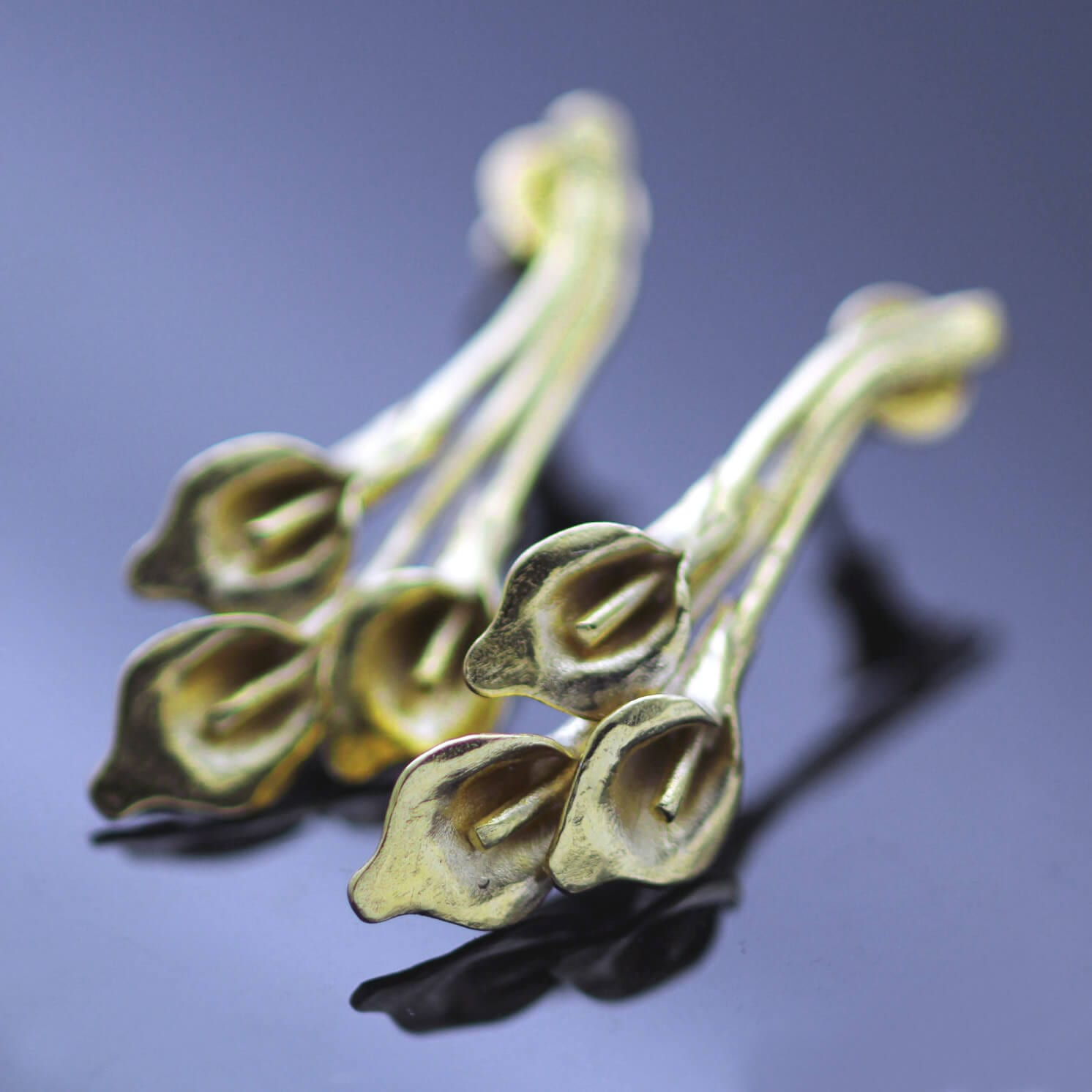 Handmade ellow Gold Sterling Silver Calla Lilly droplet floral earrings