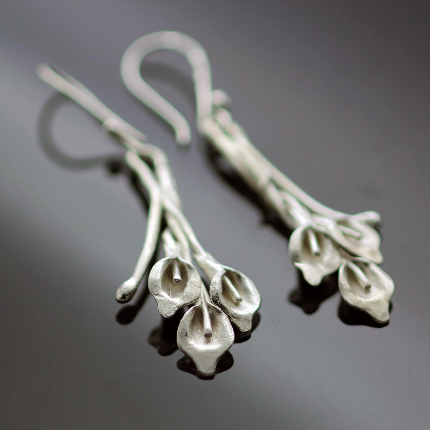 Handmade Silver Bouquet Calla Lilly Floral earrings handmade