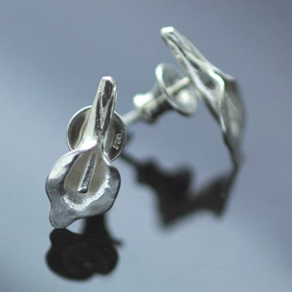 unique handmade silver lily earrings