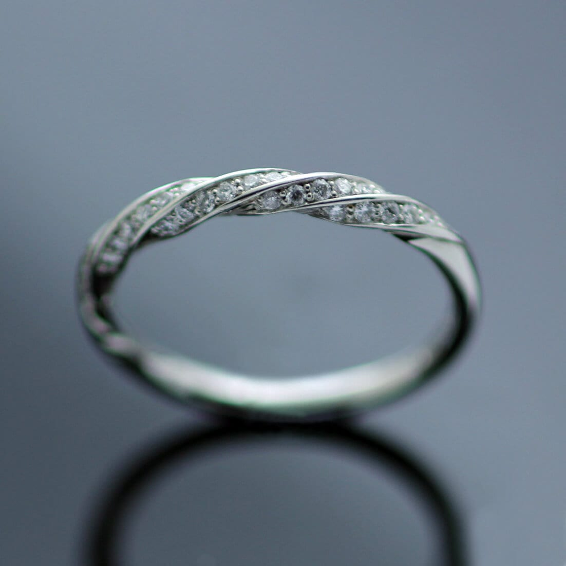Handcrafted Platinum Diamond Half Eternity band unique design