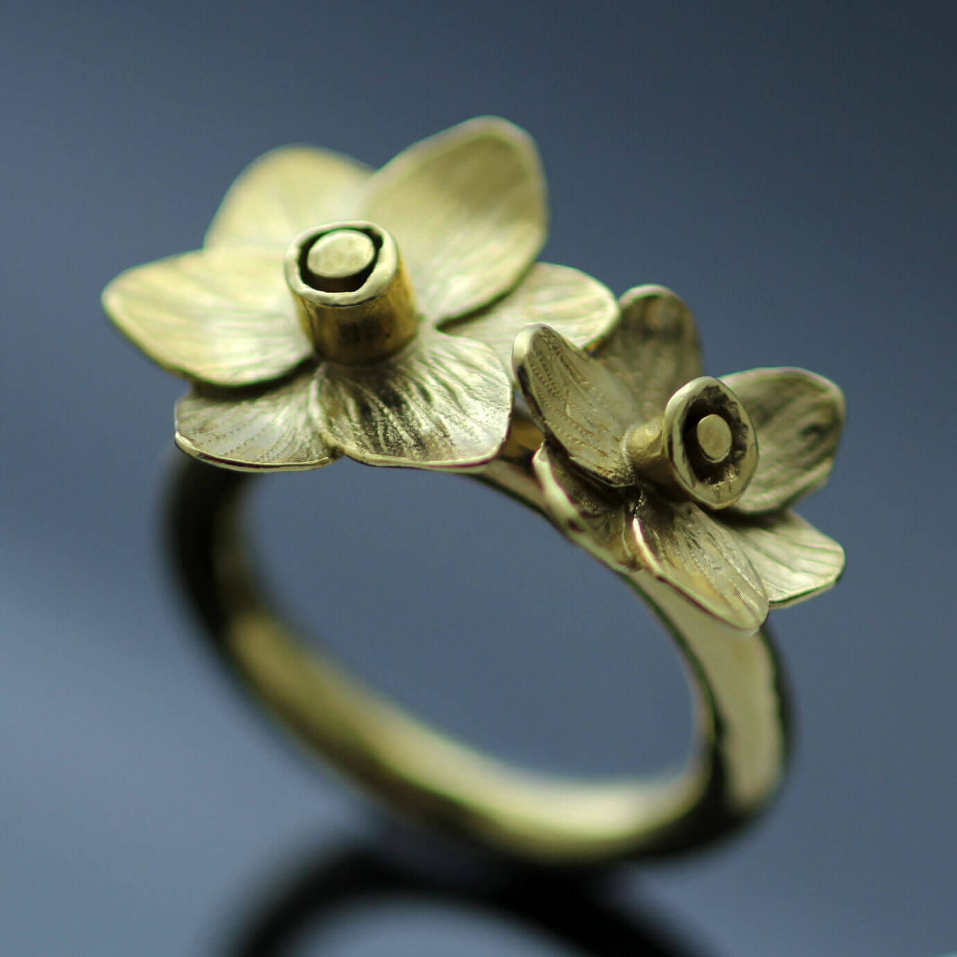 unique handmade gold plated daffodil floral ring