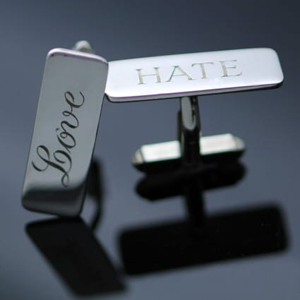 Love Hate Silver cufflinks hand engraved quirky modern style