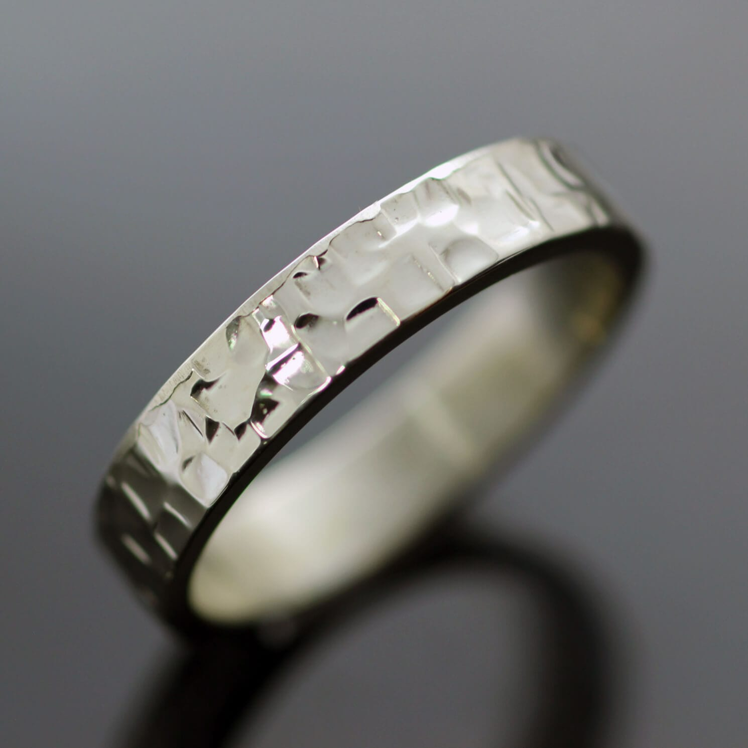Unique modern chunky silver ring handmade textured flat band