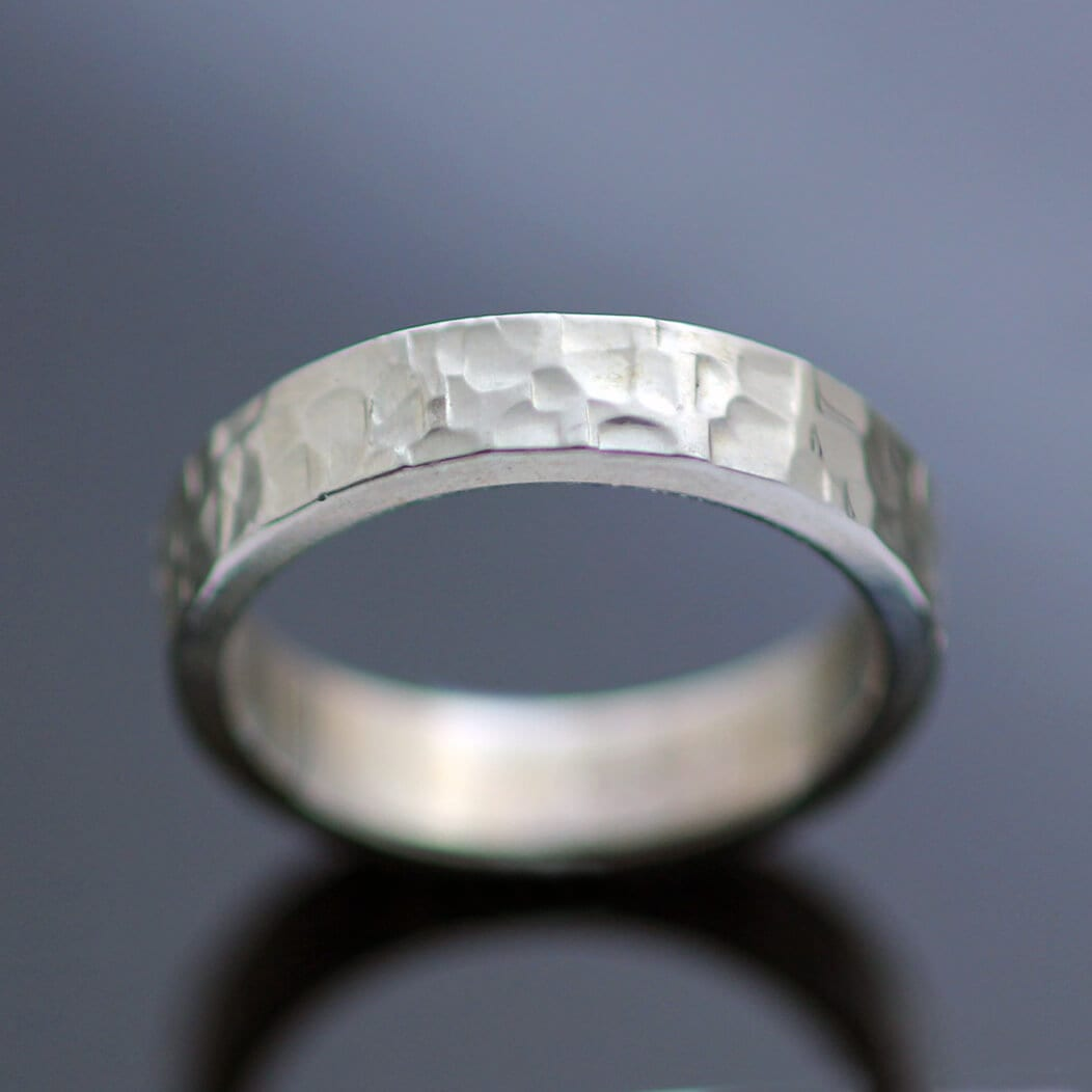 Textured chunky silver ring flat band design hand made