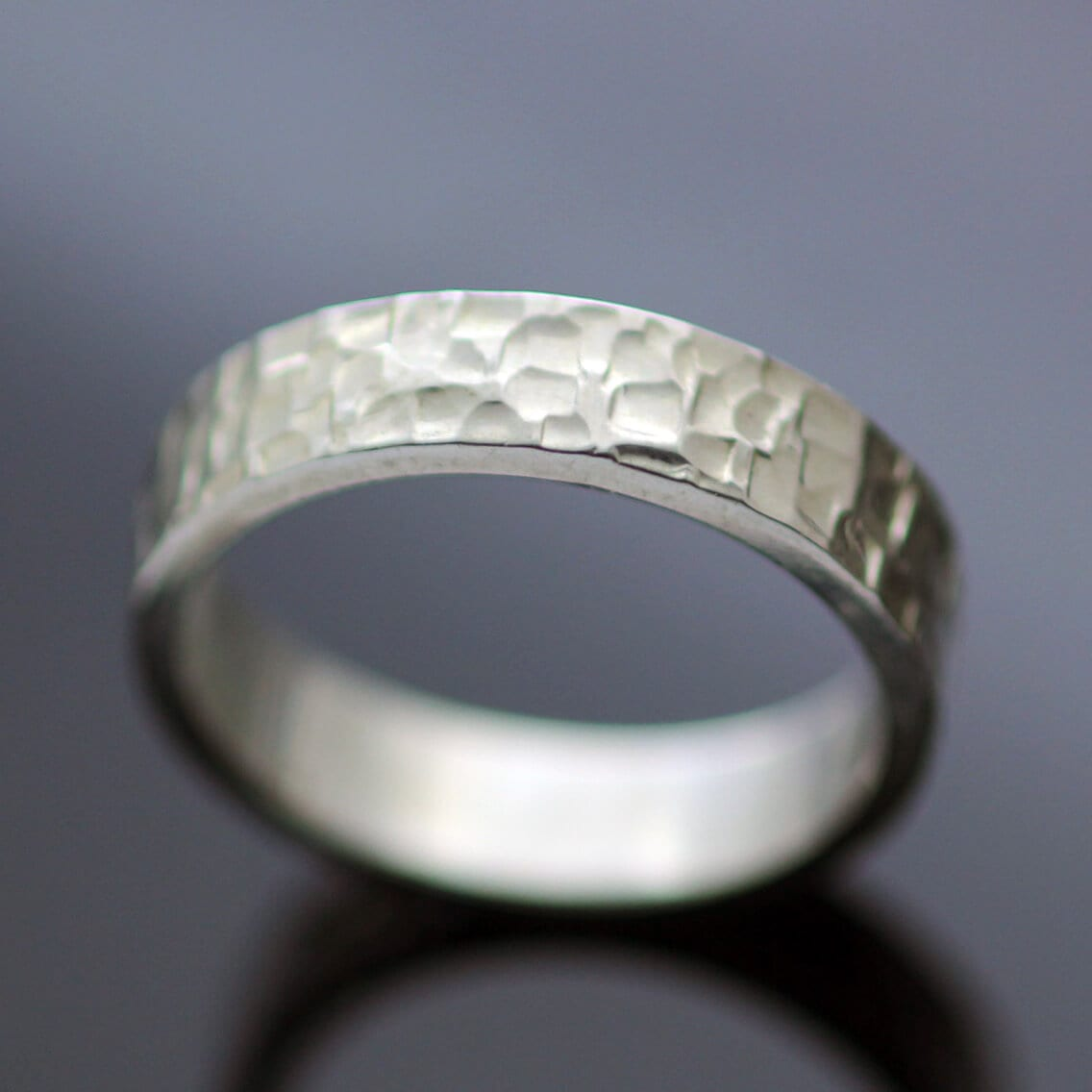 Han made silver chunky ring flat band textured finish