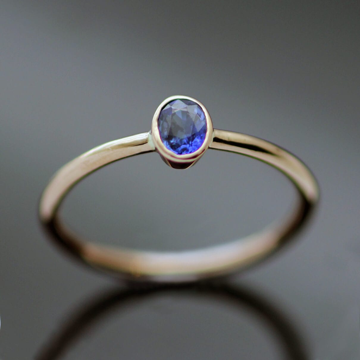 Oval cut Bliue Sapphire Rose Gold handmade stacking ring
