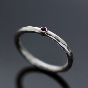 Handmade polished round ring Amethyst gem handcrafted