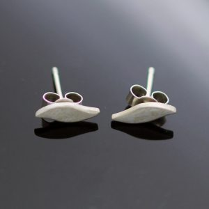 Modern handmade silver stud earrings