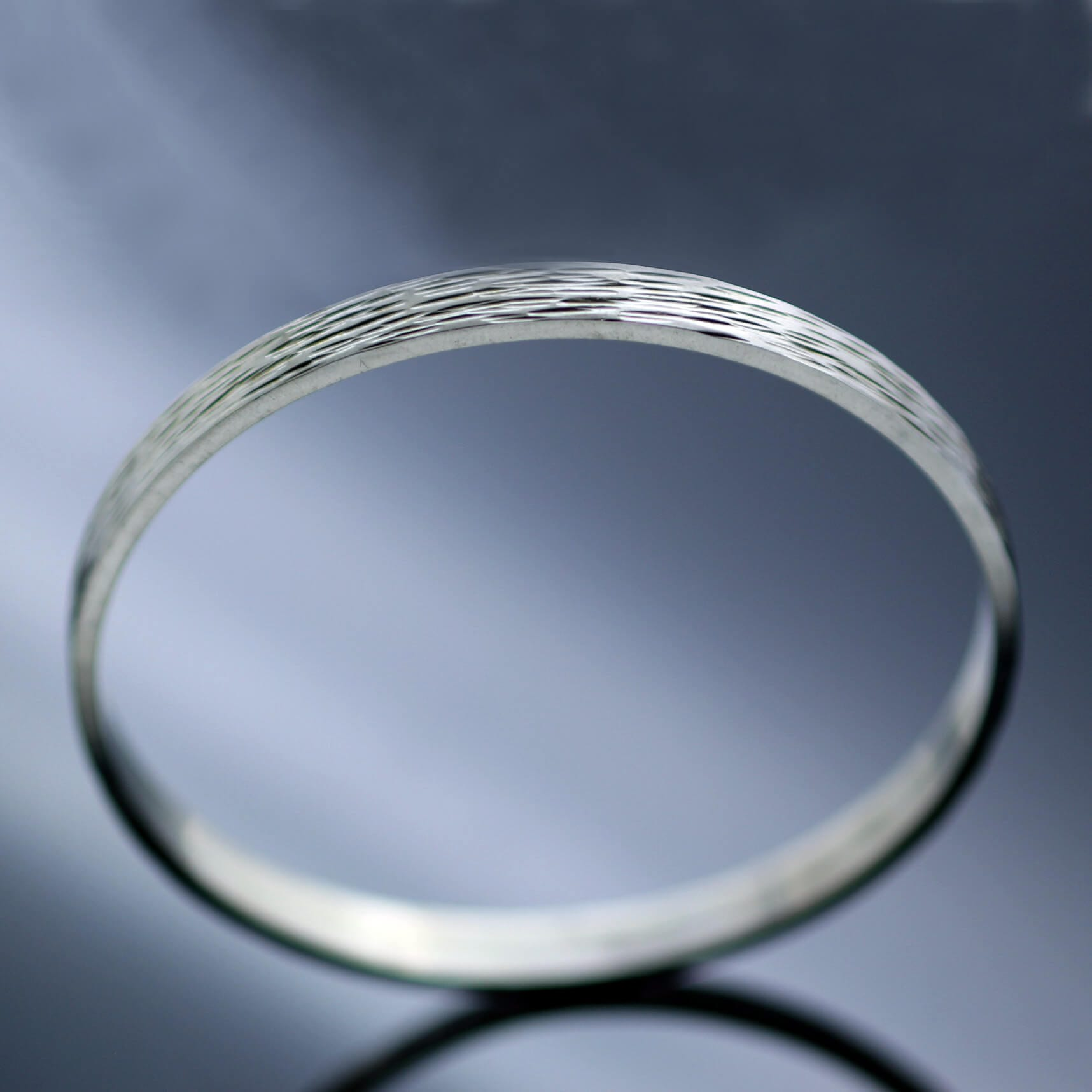 Modern Silver stacking bangle textured finish