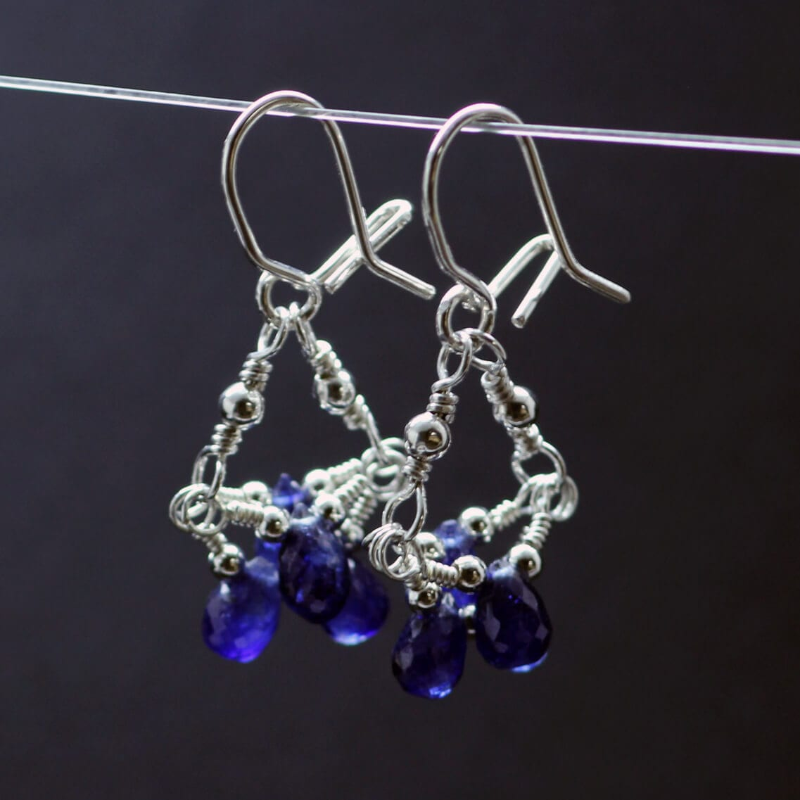 Handmade Blue sapphire briolette gemstone silver droplet earrings