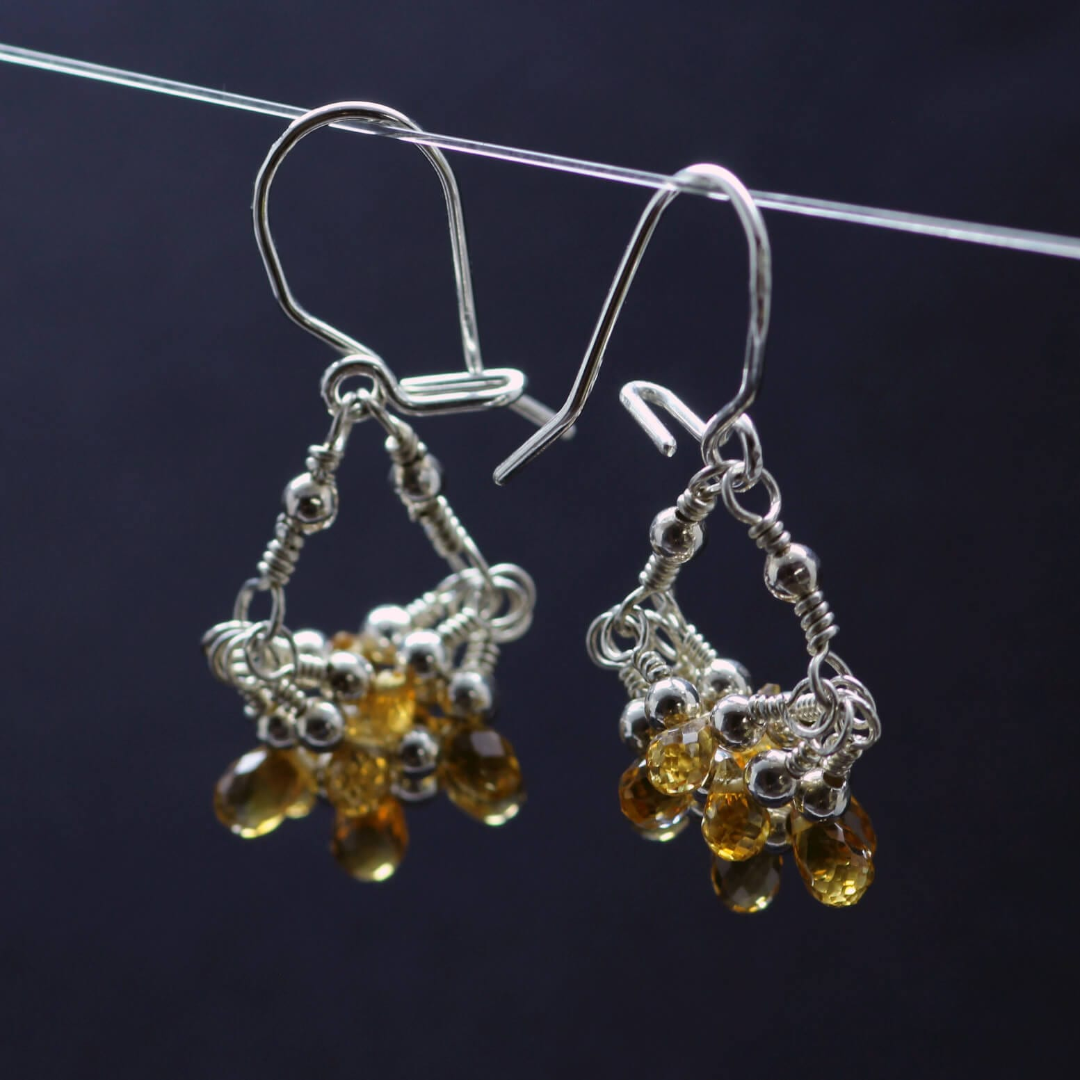 Handcrafted Citrine briolette cut Silver droplet cluster earrings