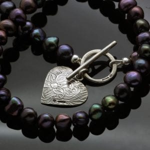Modern Peacock Pearl textured solid Silver Heart charm necklace