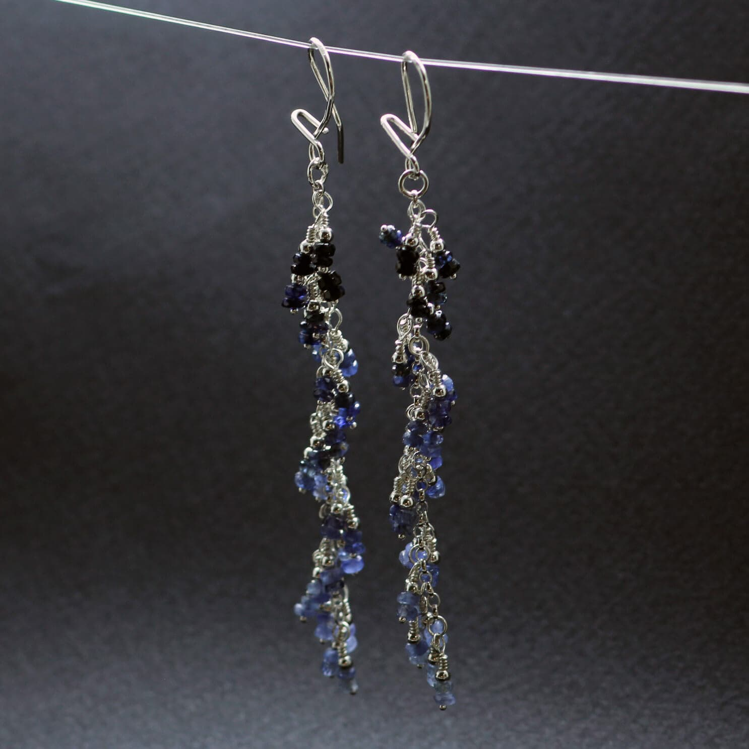 Blue Sapphire gemstone Silver earrings, handcrafted by Sophie Saunders