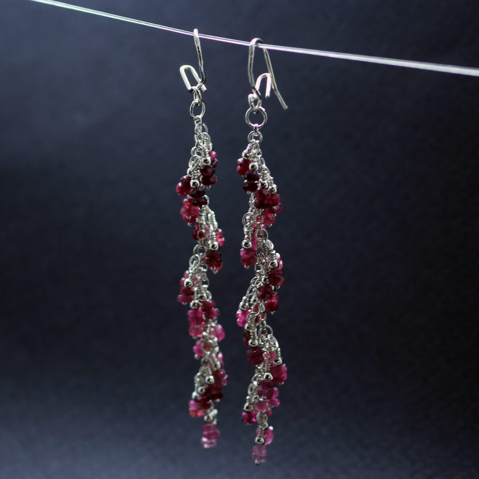 Ruby and Pink Sapphire gemstone Silver earrings, handcrafted by Sophie Saunders.