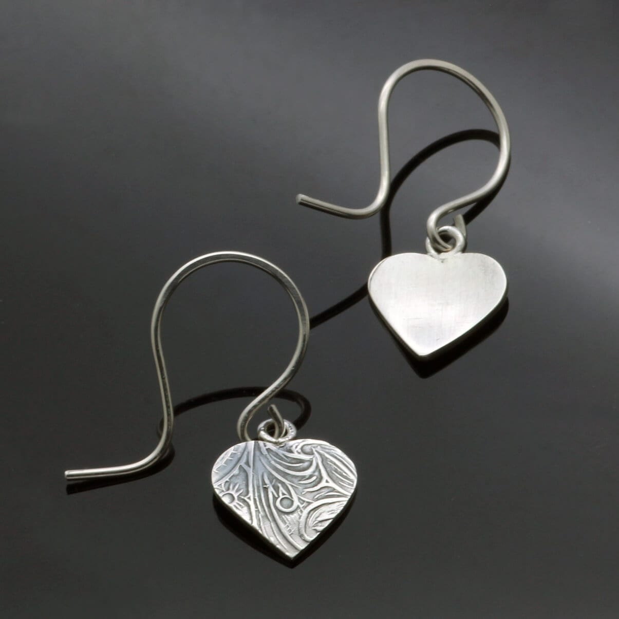 Modern Heart shaped Silver textured droplet earrings
