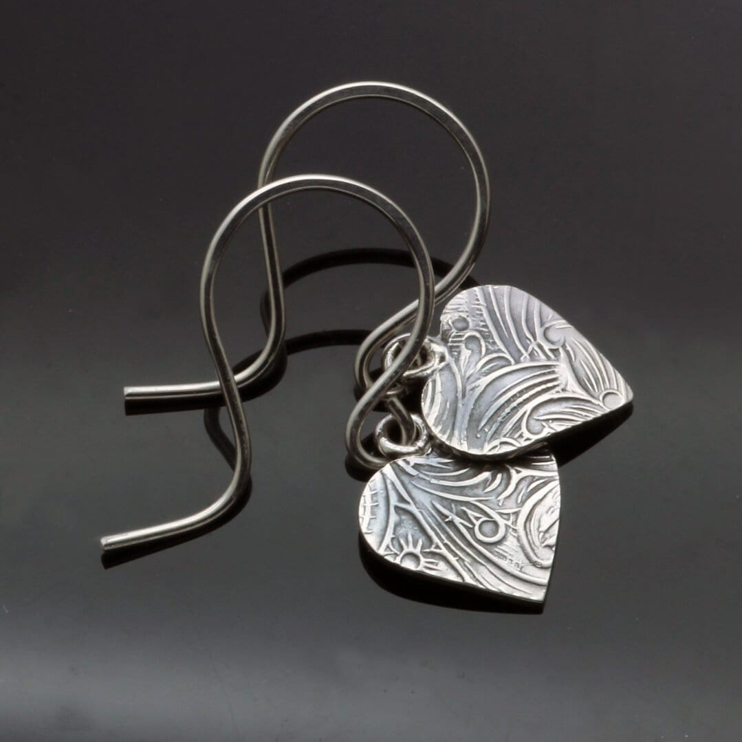 Sweet textured heart sterling silver handmade earrings