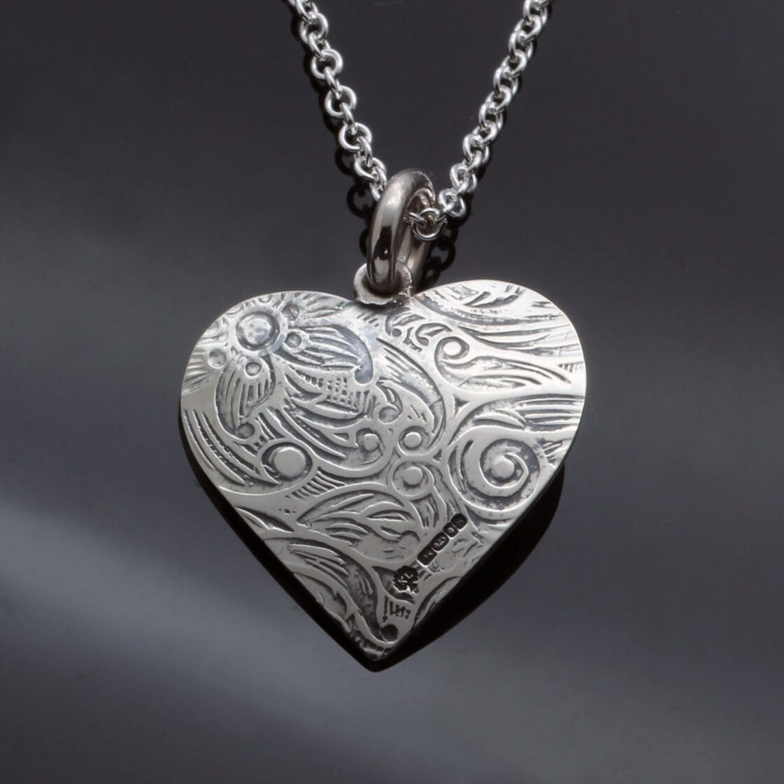 Handcrafted solid SIlver Paisley heart pendant handmade