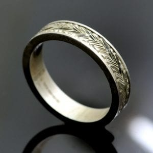 Solid Sterling Silver hand engraved flat band