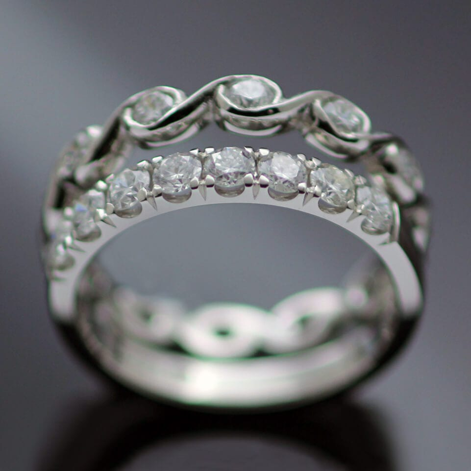 Bespoke handmade diamond platinum rings unique modern design