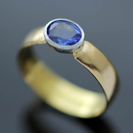22ct Yellow Gold blue Sapphire bespoke handmade ring