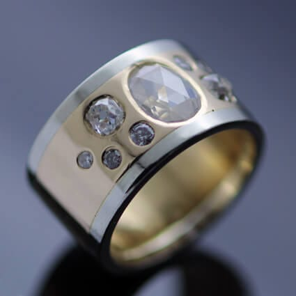 Rose cut Diamond Old cut Diamond White gold Yellow Gold bespoke ring