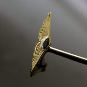 Unique book pin handmade yellow gold marquis sapphire