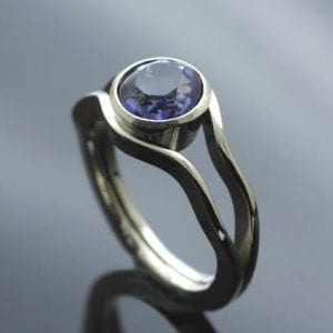Bespoke Iolite gemstone White Gold unique engagement ring