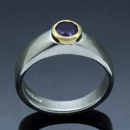Handcrafted modern sterling silver yellow gold birthstone ring