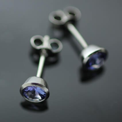 Bespoke handmade Tanzanite gem Platinum stud earrings