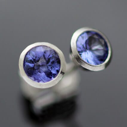 Handmade bespoke Platinum stud earrings Tanzanite gemstones
