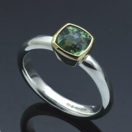 Handmade gemstone cocktail ring Afghan green Tourmaline set in 18ct Yellow Gold and Sterling Silver ring