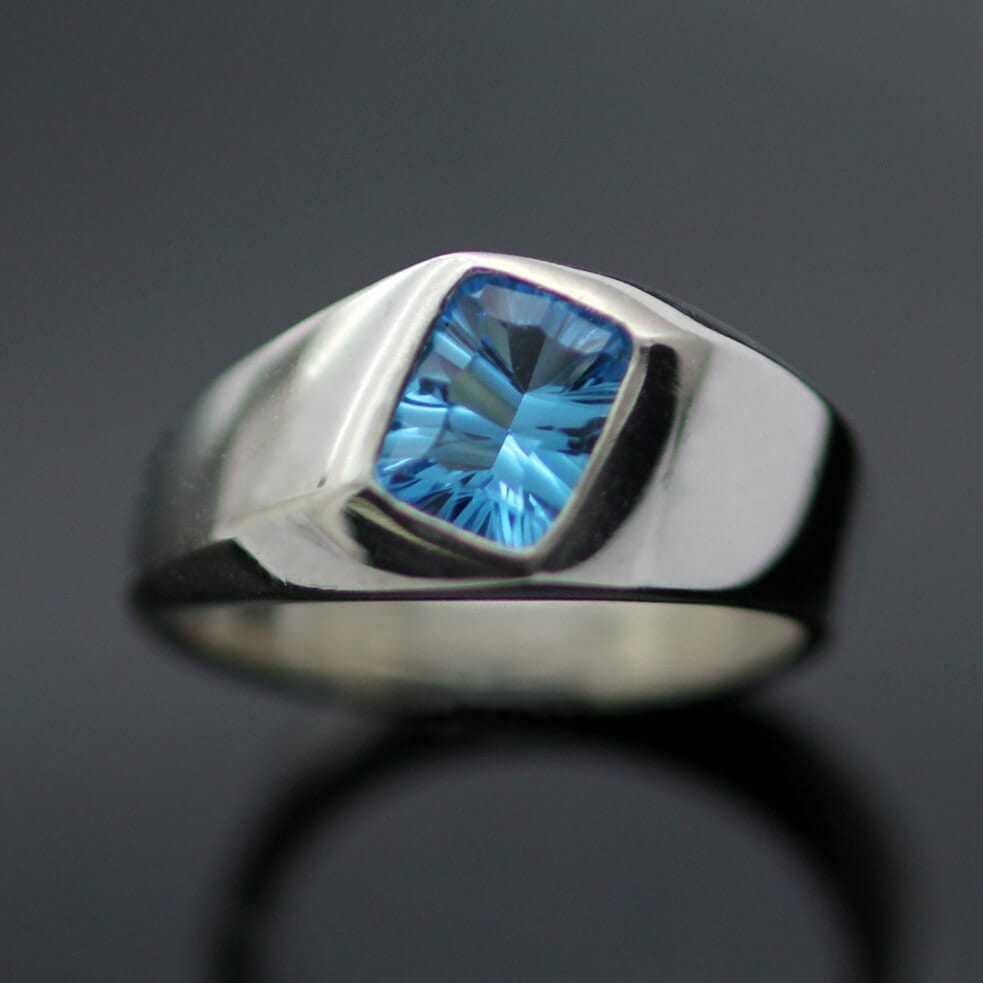 Modern gemstone ring blue topaz signet ring